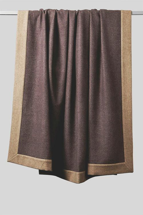 Etra Cashmere Bedspread Aubergine/Taupe with Taupe Hanging  by OYUNA at maison & objet Jan 2018