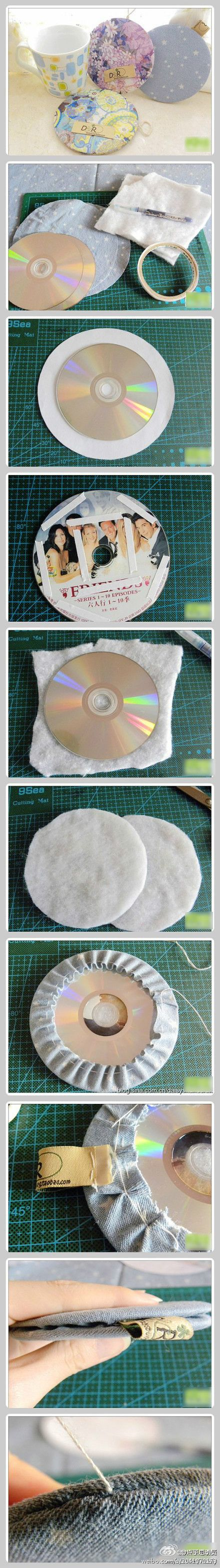 Recycle old CDs into coasters.  How about using these in counted cross stitch finishing?