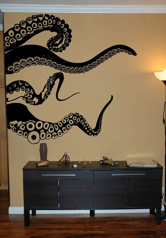 I have to say that PillBox Designs have really, really cool decals! Large Kraken Octopus Tentacles Vinyl Wall by Pillboxdesigns, $68.99