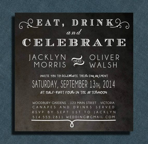 Eat Drink and be Married Chalkboard Engagement by PaperCandyCa, $2.00