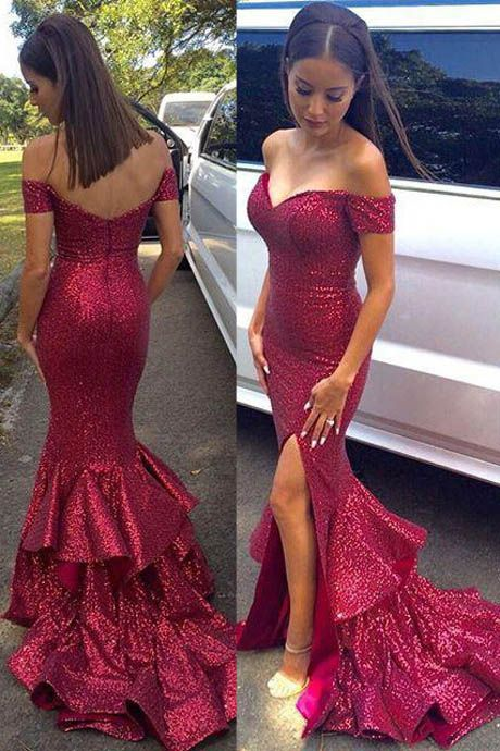 2017 prom dresses,sexy prom dresses,burgundy split evening dresses,mermaid prom dresses,sexy off-the shoulder prom dresses,cheap long prom dresses