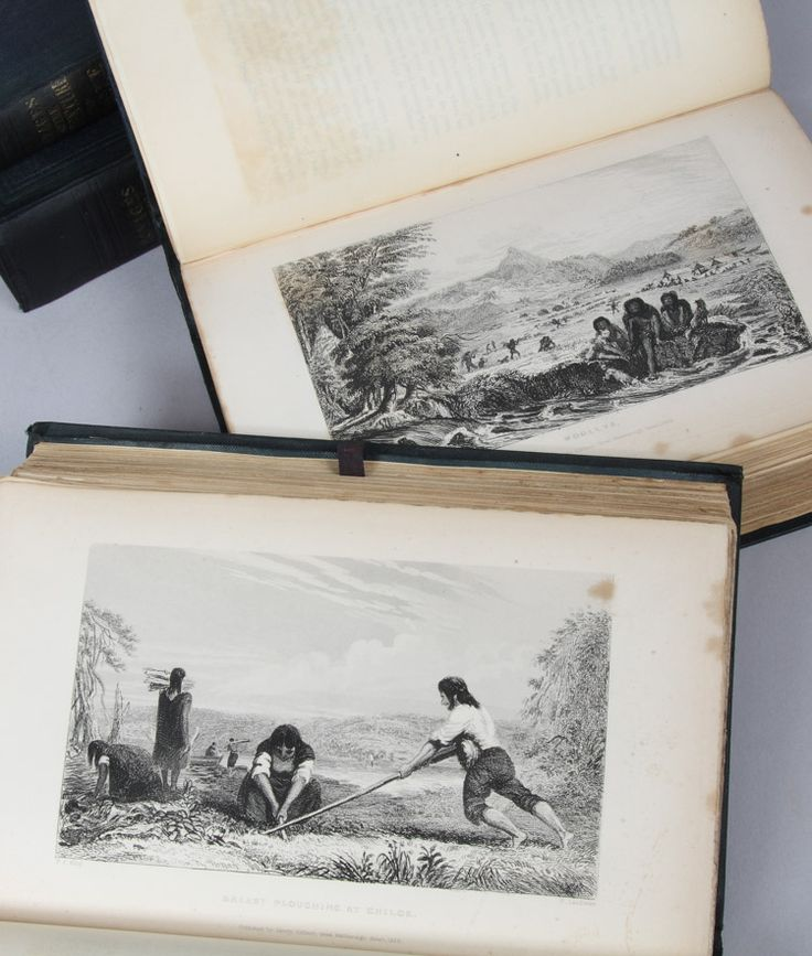 The original account of the voyage of the Beagle, by Charles Darwin and others. Four volumes, in the original publisher's cloth bindings; with four charts bound in and eight loose folding maps (two accompanying each volume in original endpaper sleeve), and a total of 44 engraved plates after Augustus Earle and Conrad Martens. This and more rare books for sale on CuratorsEye.com