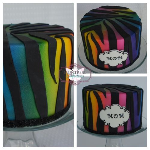 Como fazer um bolo de impressão zebra - bônus do arco-íris coloriu o fundo - Comunidade Central bolo