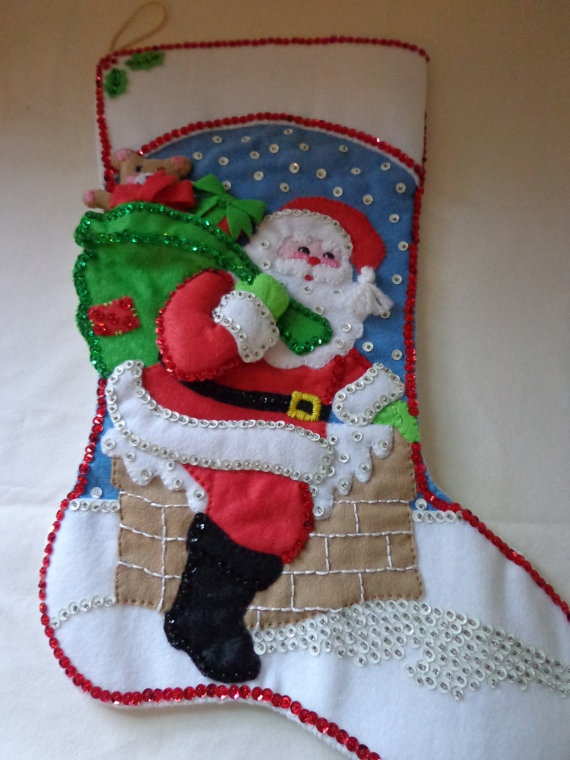 Vintage Christmas stocking  Santa climbing down by vintageroseOR, $48.00