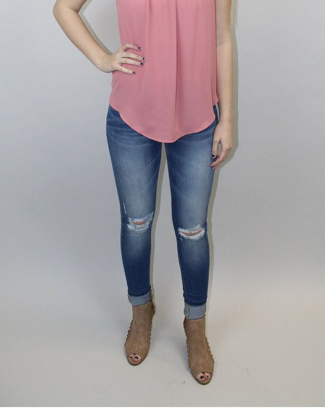 Distressed Skinny Jeans - Luna Boutique
