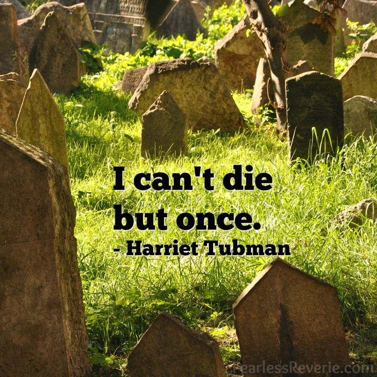 I can't die but once. - Harriet Tubman