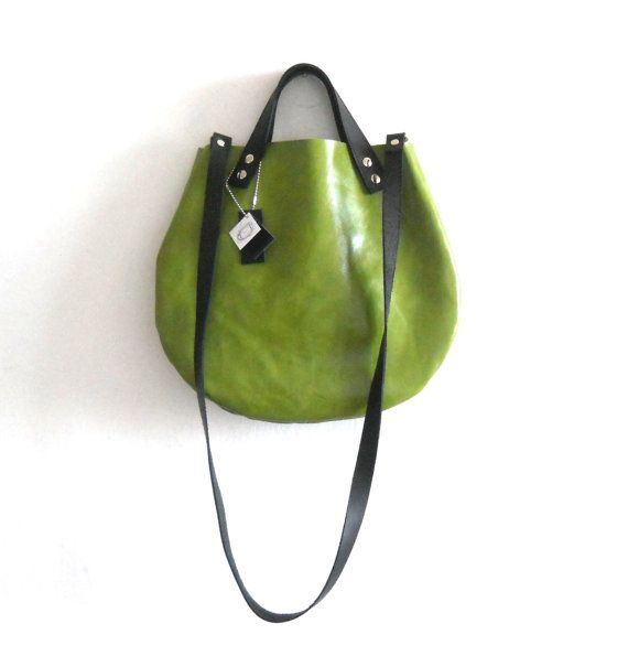 leather  basket bag Crossbody   Green Apple by Smadars on Etsy, $95.00