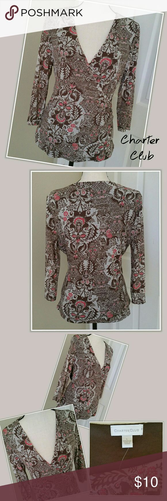 🌇 NWOT Charter Club Top 3/4 Sleeve Brown Gray L * NWOT Charter Club 3/4 sleeve, faux-wrap top. Brown, gray and coral print. V-neck and fully lined. * Size large * 100% nylon * New without tags (NWOT), never worn. No damage to note. Charter Club Tops