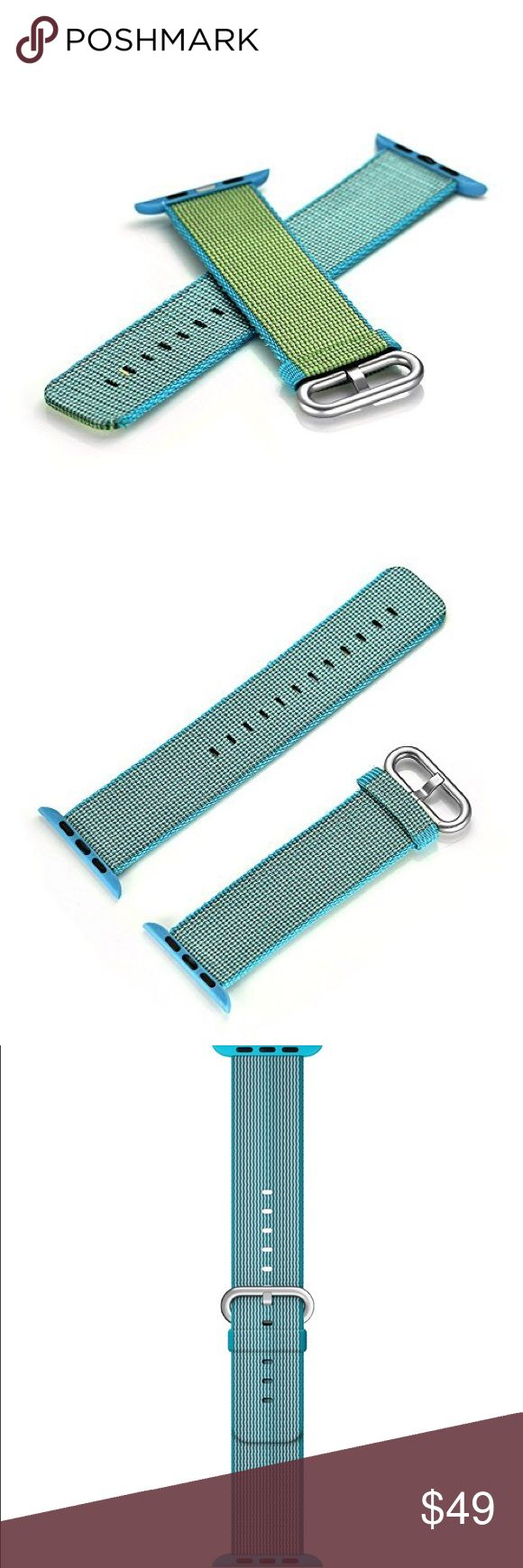 38mm Apple Watch Scuba Blue Nylon Woven Band The last picture displayed is for visual purposes only as this listing is for the sale of a 38mm Apple Watch Woven Nylon Band in Scuba Blue only and does not include the Apple Watch Silver Aluminum Case shown.   Every Woven Nylon band is made of over 500 threads woven together in a unique, colorful pattern.  Monofilaments connect four layers of the weave to create a single durable band with a comfortable, fabric-like feel.  Fits 145-215mm wrists…