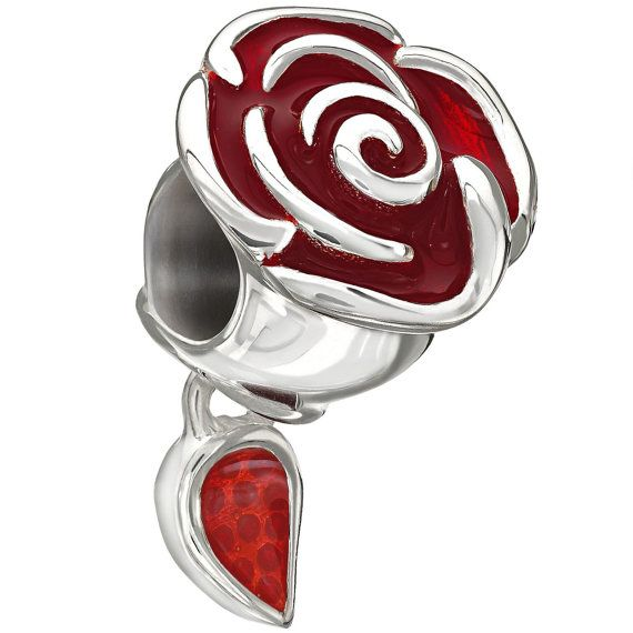 """Authentic Chamilia Disney Belle's Enchanted Rose Charm Bead 2020-0707 """"Gift Boxed"""" on Etsy, $45.00"""