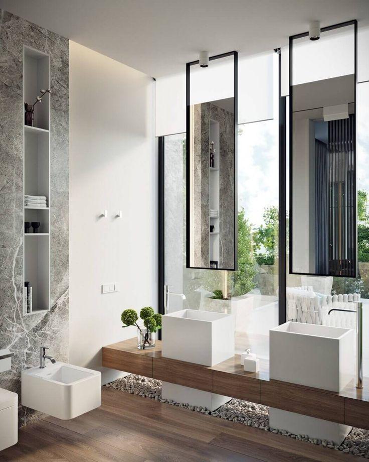 Une salle de bain moderne avec des matériaux tendance. #décoration #intérieure #inspiration #luxe