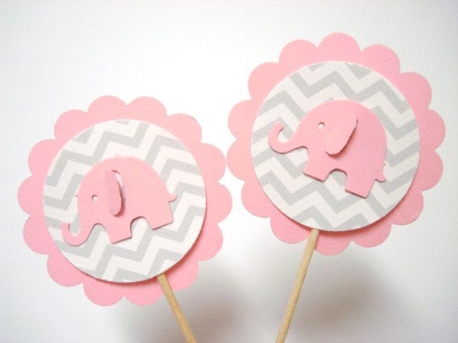 Set of 24Pcs - Gray Chevron & Pink Elephant Party Picks - Baby Shower Birthday Party Cake Decor Party Toppers #Pink #Wedding #PinkWedding #Paper