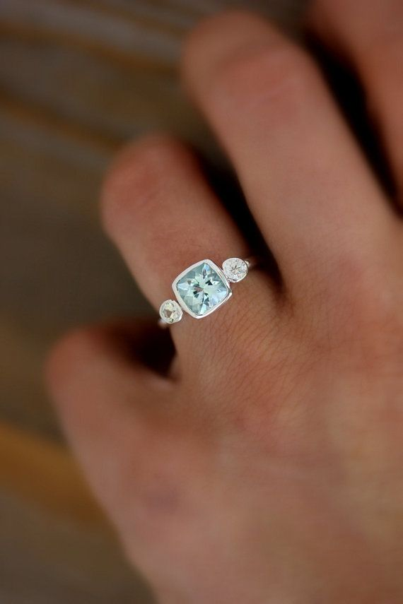 Aquamarine and White Sapphire Cushion Cut...how lovely!