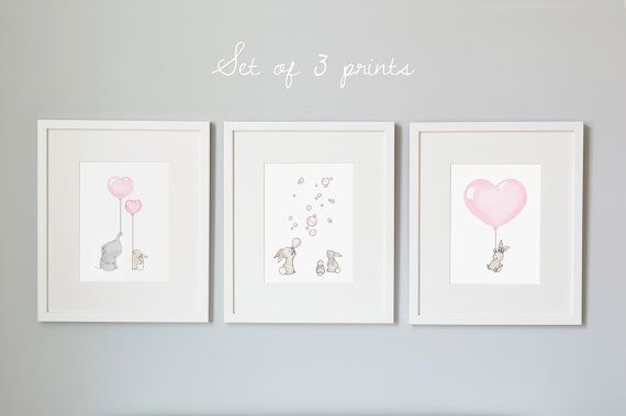 ♥ Pretty Pastel Pink Collection ♥ (also now available in Lilac!) SET OF 3 Unframed Fine Art Prints  A set-of-3 Fine Art Giclée prints, printed