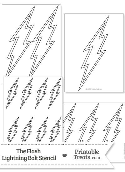 The Flash Lightning Bolt Stencil From PrintableTreats