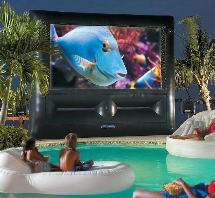Inflatable SuperScreen Outdoor Theater System - Ultimate Home Theatre...need the pool,too!