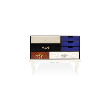 Composed by a collection of wood drawers finished in mirror and black glass with etched detailing, gold leaf, diamond mateched rosewood veneer | http://masterbedroomideas.eu