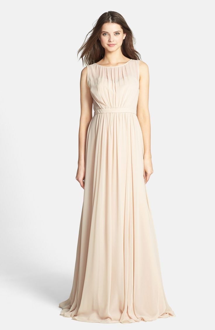 114 best wedding dresses images on pinterest wedding dressses vivienne pleated chiffon gown neutral bridesmaid dresseschampagne ombrellifo Gallery