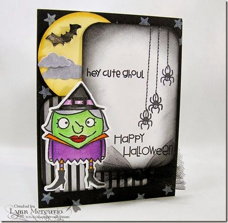 A Halloween card using Paper Smooches Images and dies, created for my granddaughter.