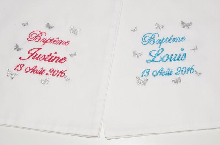 Pour jumeaux:2 écharpes/étoles de baptême bébé/enfant papillons personnalisée brodée garçon ou fille : Mode Bébé par lbm-creation