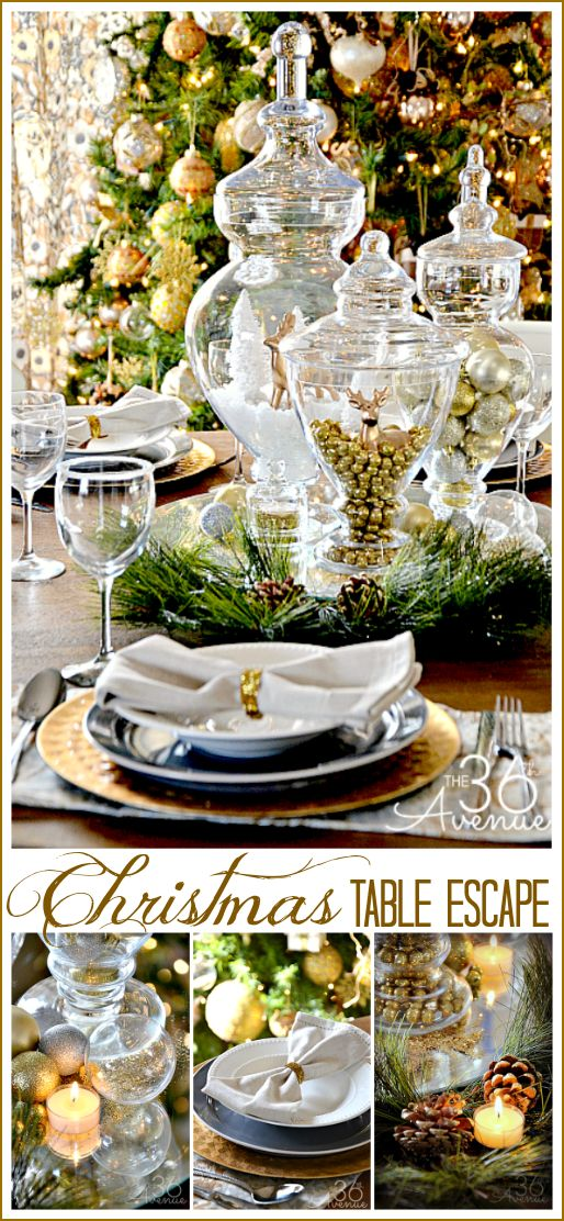 Christmas Table Escape Ideas using things that you may already have! #christmas #decor #homedecor: