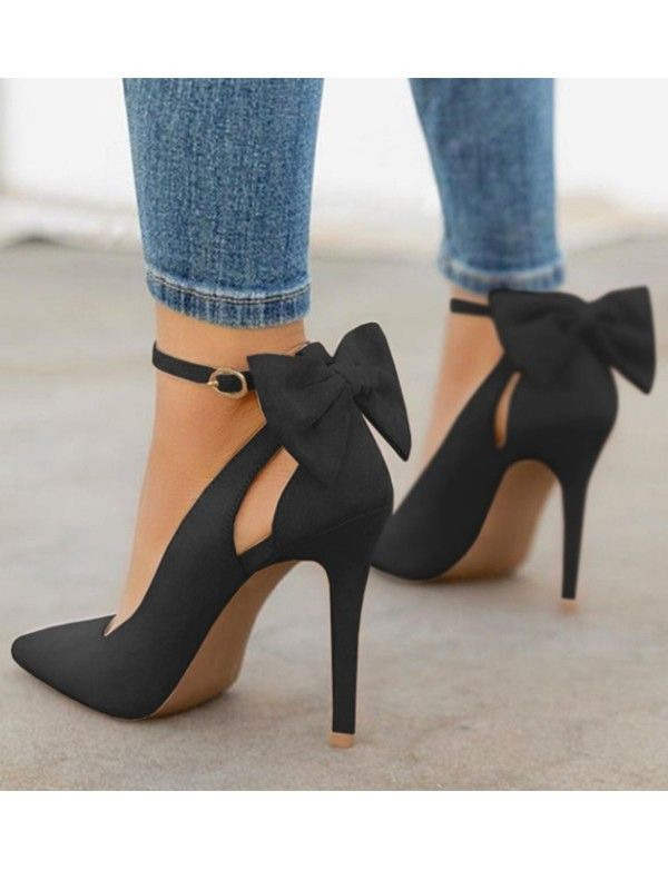 Black Round Toe Bow Fashion High-Heeled Shoes