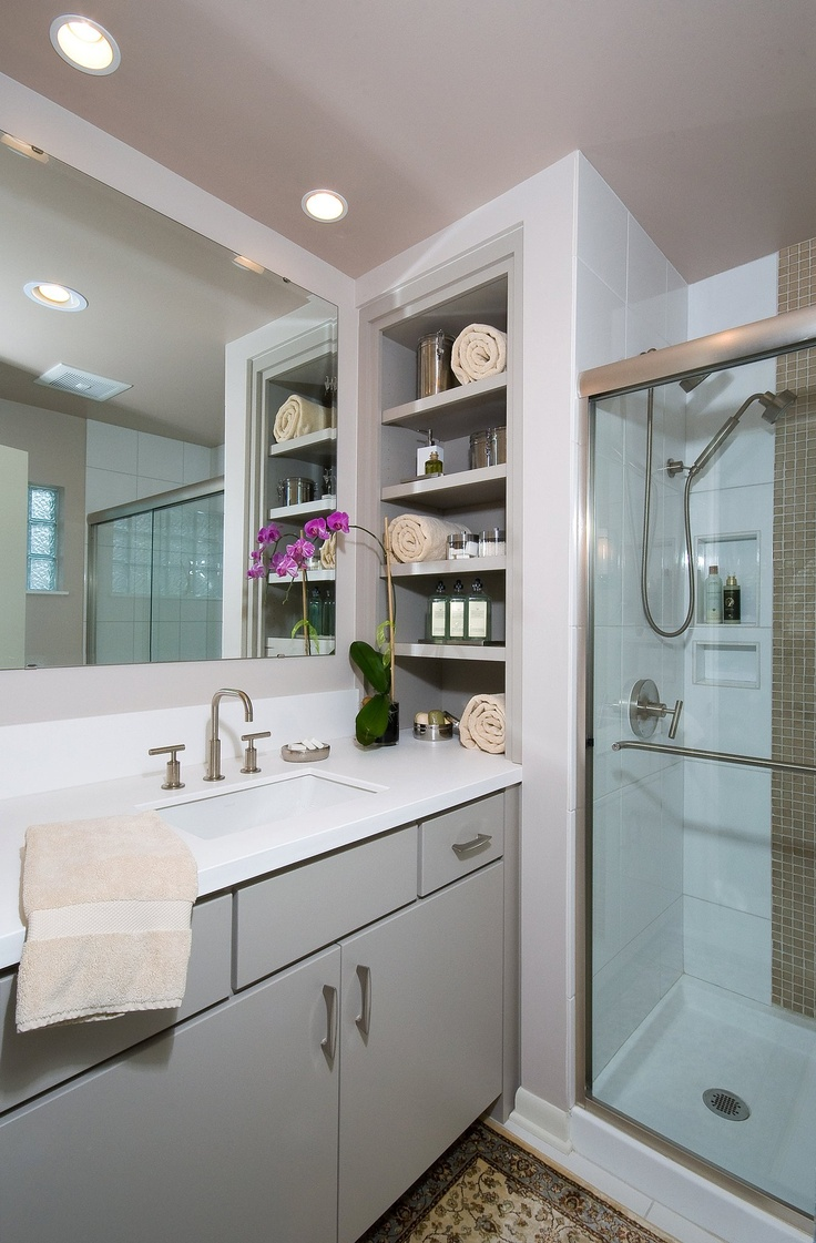 Generous Storage Next To A Vanity And Shower In A Guest Bath (this Project