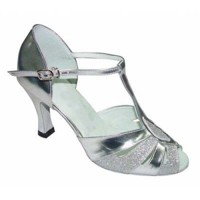 International Dance Shoes Silver Glitter Sole
