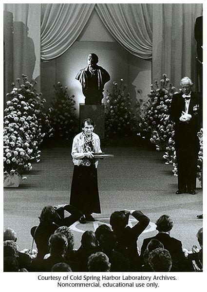 Barbara McClintock recieving Nobel Prize, 1983