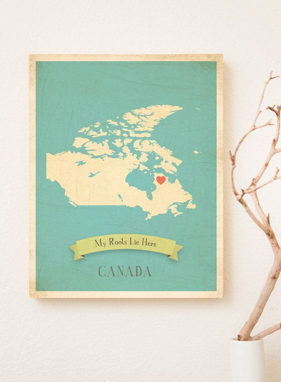 Canada Roots Map 11x14 Customized Print by ChildrenInspire on Etsy, $40.00
