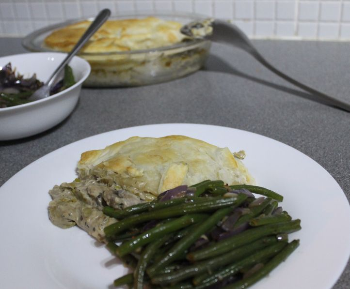 Leek and mushroom pie with garlicky green beans   Amuse ...