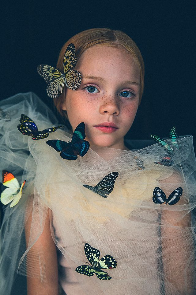 kids fashion editorial photo shoot featuring real butterflies in natural light http://www.atozanephotography.com