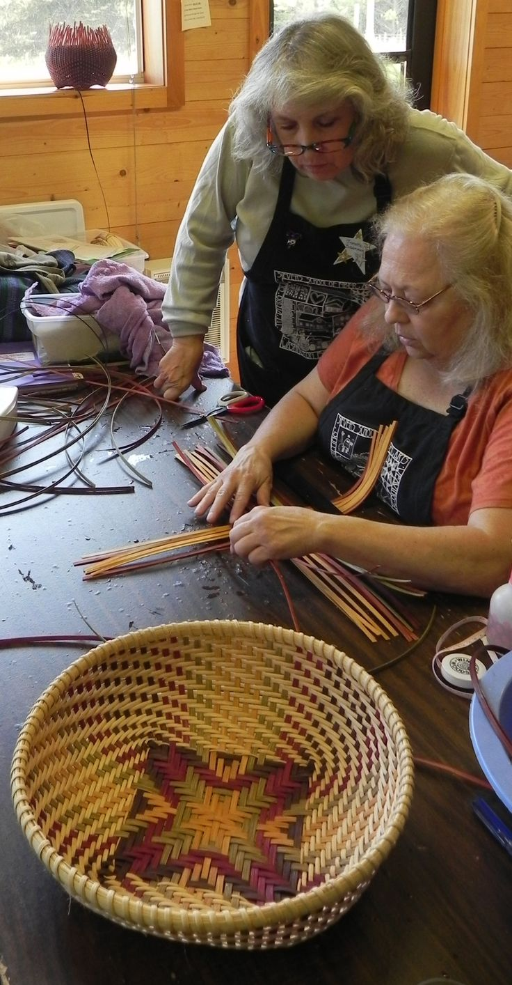 Splint Woven Basketry: Independent Study with Jeanette Biederman in the Walter Studio at Sievers School.