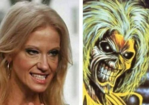 Kellyanne Conway's doppelganger: Iron Maiden's mascot Eddie (Found at Druid Underground Film Fest; For a related video, click here http://christiannightmares.tumblr.com/post/6990176282/moustached-evangelist-rich-wilkerson-preaches)