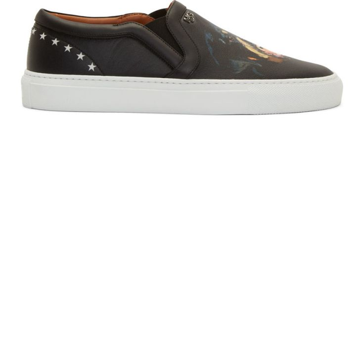 Givenchy Black Leather Rottweiler Slip-On Sneakers