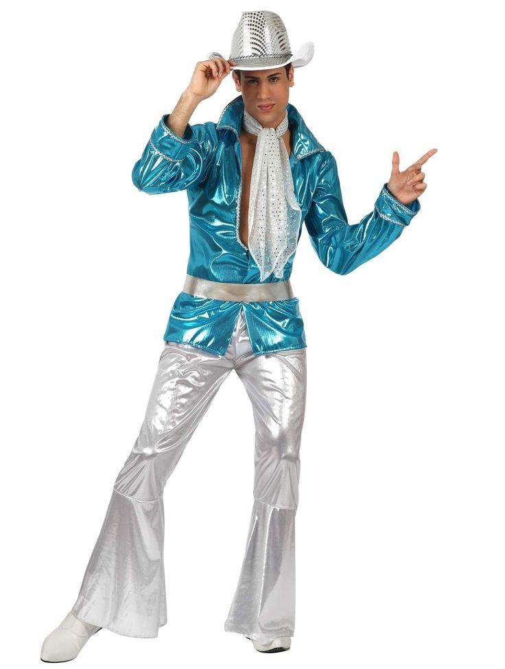 Disco outfit voor volwassenen: Dit discokostuum voor mannen bestaat uit een zilverkleurige broek met elastische taille, een blauw T-shirt met lange mouwen, een riem en een sjaaltje (hoed en schoenen niet inbegrepen). De broek is...