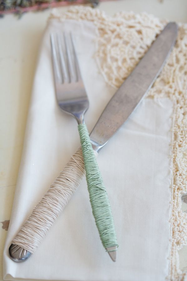 yarn-wrapped flatware // photo by Izzy Hudgins