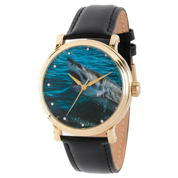 Men's Discovery Channel Shark Week Gold Vintage Alloy Watch - Black