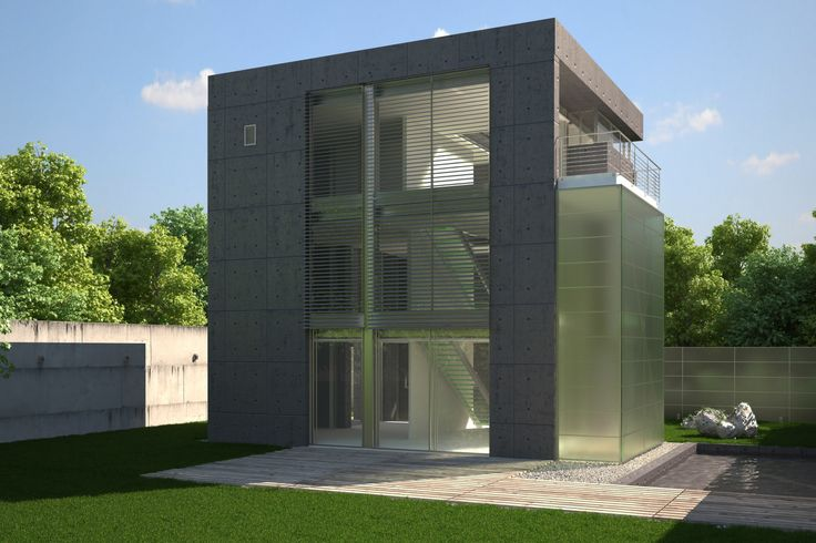 Visualisation of blue concrete house