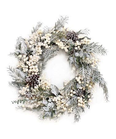 Look what I found on #zulily! Frosted Cedar & Berry Wreath #zulilyfinds