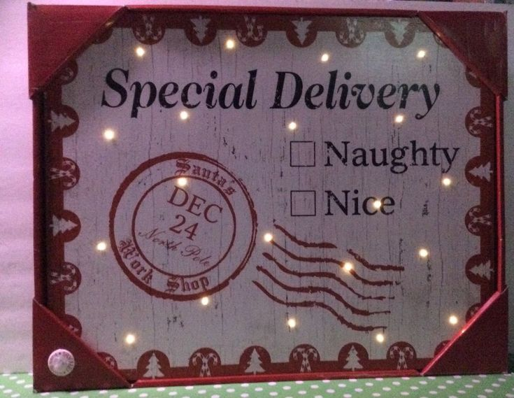 """Led Light Up Wooden Wall Plaque/Shelf """"Special Delivery Naughty List"""" New #Unbranded #RusticPrimitiveVintage"""