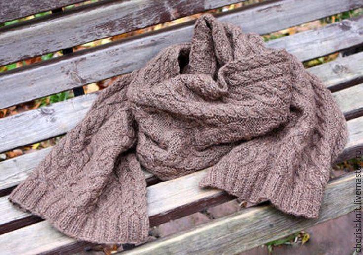 Купить Шарф вязаный шерстяной серо-бежевый араны - бежевый, орнамент, серо-коричневый, шесть