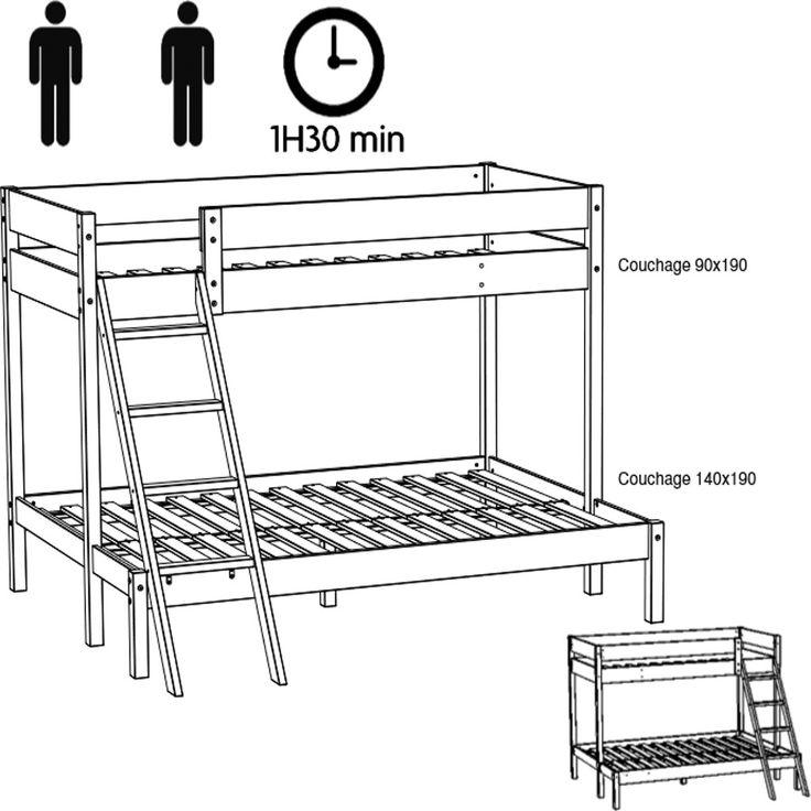 17 meilleures id es propos de lit superpos pas cher sur. Black Bedroom Furniture Sets. Home Design Ideas