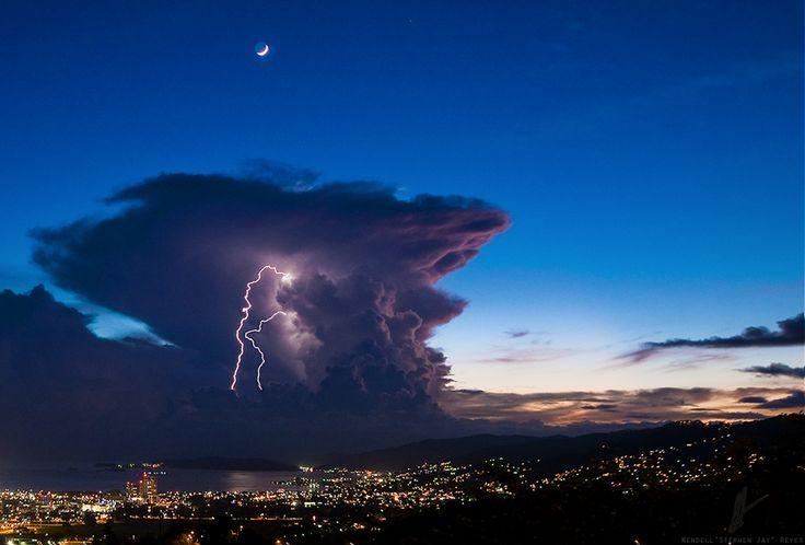 The Moon, Thunder Cloud & Lightning by Stephen Jay, via 500px