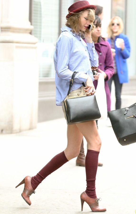 Taylor Swift Goes Shopping In Shorts & Knee Socks