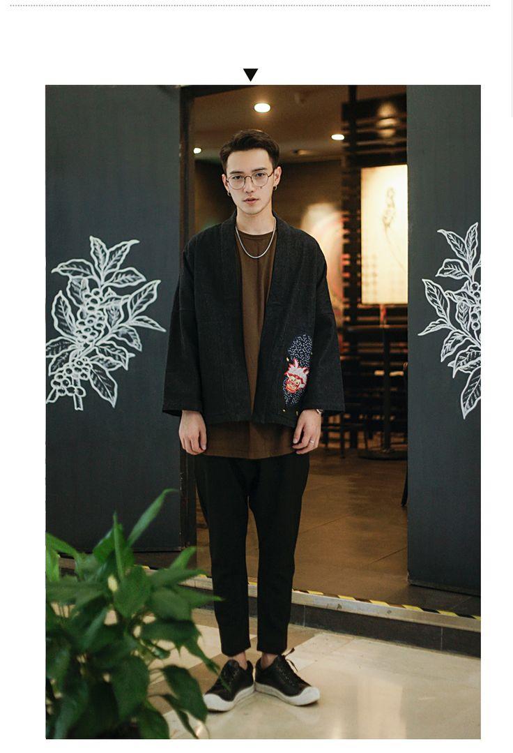 Японский джинсовая куртка мужская вышитые хлопковый кардиган свободные кимоно джинсовая куртка мужской джинсовые пальто купить на AliExpress