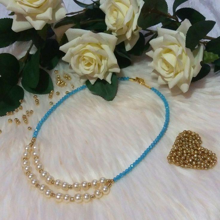 Girocollo con perle, cristalli e perline, by Katia Kreazioni, 12,00 € su misshobby.com