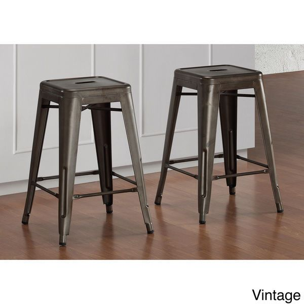 24 Inch Vintage Set of 2 Counter Bar Stool Stackable Free Shipping