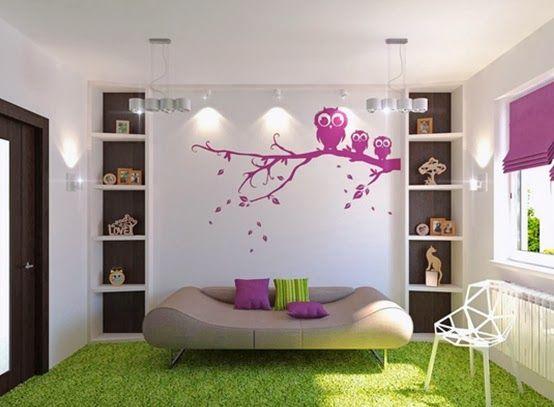 ideas para decorar tu dormitorio en verde y morado