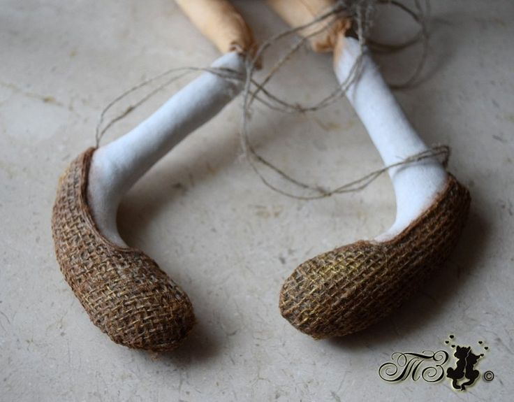 Лапти для куклы, обувь для куклы, мастер класс